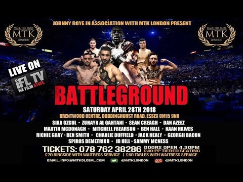 MTK LONDON PRESENTS .... *BATTLEGROUND* - LIVE PROFESSIONAL BOXING FROM BRENTWOOD, ESSEX