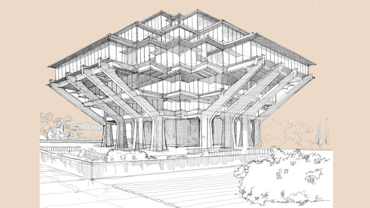 Architecture Sketch #009 UCSD Geisel Library designed by William Pereira