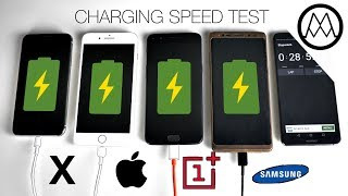 iPhone X vs Galaxy Note 8 vs iPhone 8 Plus - Battery Charging Speed Test