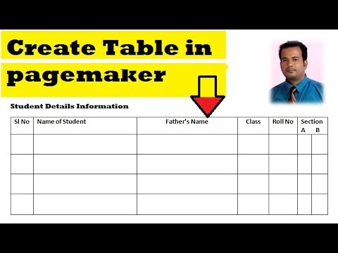 How to create table in Pagemaker 7.0 | Automatic update table