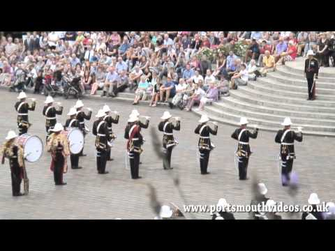 Band of HM Royal Marines School of Music Beat Retreat At Guildhall Square Portsmouth 8th August 2014