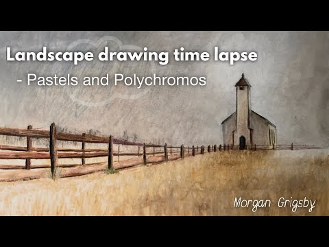 Landscape drawing time lapse using oil pastels and Polychromos -gloomy field