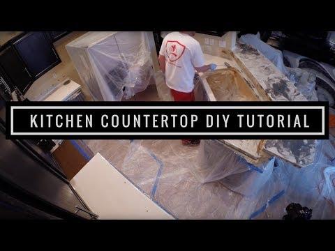 Kitchen Countertop Resurfacing with Metallic Epoxy   DIY Tutorial