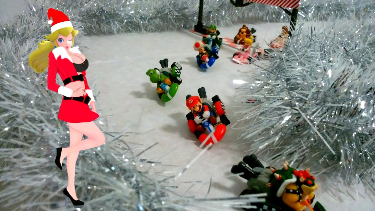 Christmas Mario Kart.Merry Christmas Mario Kart Race Stop Motion Animation