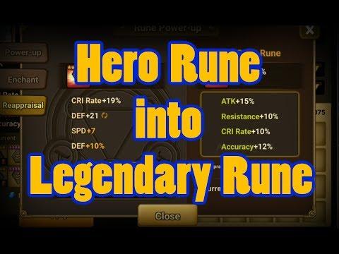 Summoners War - How to turn Hero Rune into Legendary Rune