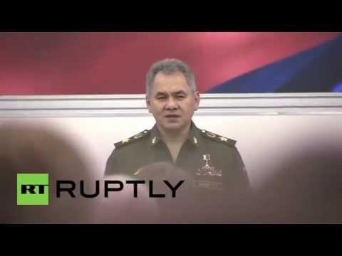 Russia: Shoigu receives knitted tank at Yunarmiya movement inauguration