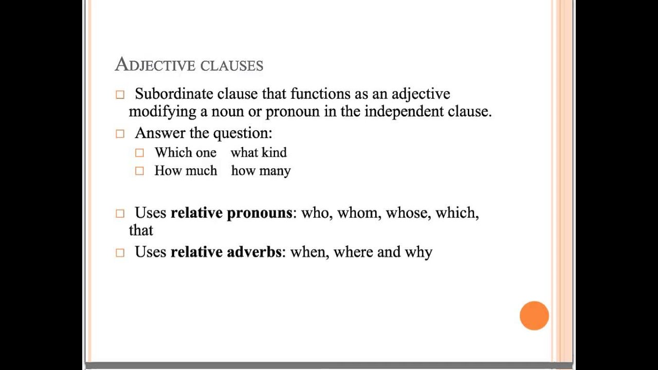 Worksheets Adjective Noun And Adverb Clauses Worksheet adjective and adverb clauses youtube clauses