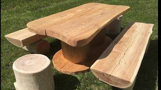 artigianato di montagna delle dolomiti, tavolo, panche e fioriere in legno per terrazzo e giardino