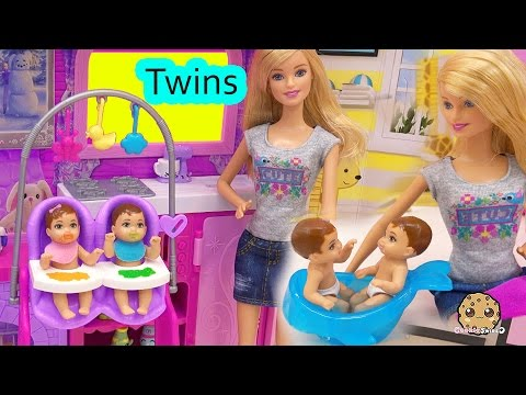 Barbie Babysitting Baby Twins Color Change Water Bath Play Video Babysitter Playset Cookieswirlc