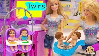 Barbie Babysitting Baby Twins Color Change Water Play Video Babysitter Playset Cookieswirlc thumbnail
