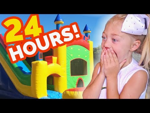 24 HOURS INSIDE A GIANT BOUNCE HOUSE IN OUR BACKYARD!!! (SURPRISING EVERLEIGH)