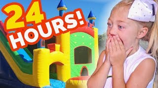 24 HOURS INSIDE A GIANT BOUNCE HOUSE IN OUR BACKYARD!!! (SURPRISING EVERLEIGH) thumbnail
