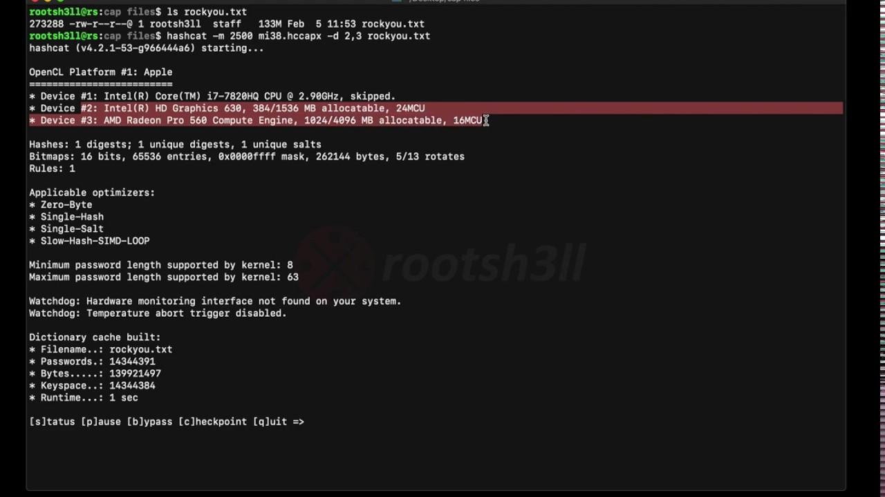 Hashcat WPA2 Cracking Benchmark on MacBook Pro 2018 with Radeon Pro 560 (4  GB) GPU