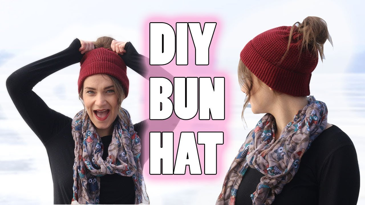 9b1f5d21a2898d DIY MESSY BUN HAT | NO CROCHET (EASY) - YouTube