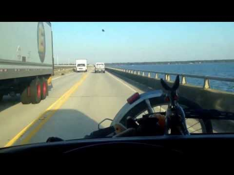 Driving across the Wright bridge to the Outer Banks of North Carolina in the Vw Bus