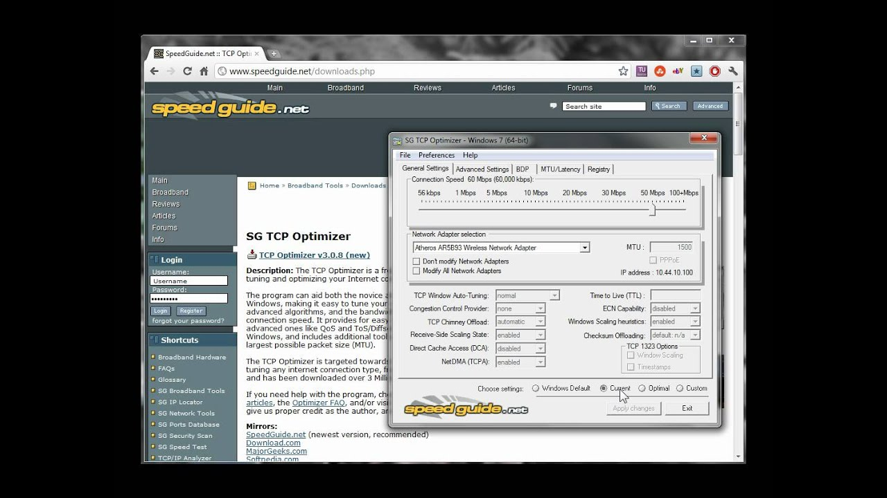 Speedguide net's TCP Optimizer