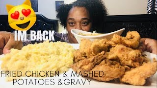 HOMEMADE FRIED CHICKEN| MASHED POTATOES &GRAVY| SOCIAL EATING | EATING SHOW
