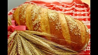 БАТОН МОЛОЧНЫЙ НА ЗАКВАСКЕ Самый точный и проверенный рецепт Домашний бездрожжевой хлеб в духовке