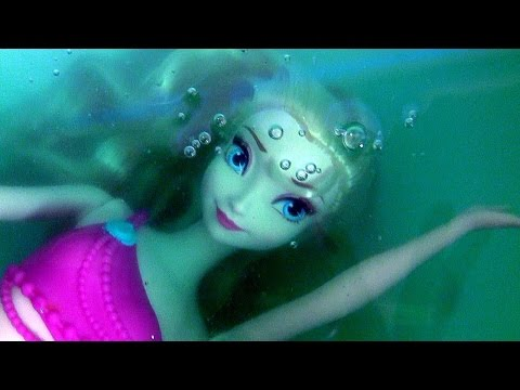 Thumbnail: Elsa Transforms in Little Mermaid Elsa Swimming Underwater in Slime Baff Frozen Bath Water Toys