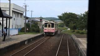 由利高原鉄道 ゆりてつラッピング車と前郷駅で交換
