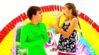 ناستيا وأبي يلعبان لعبة الطالب والمعلم   قصة تعليمية للاطفال