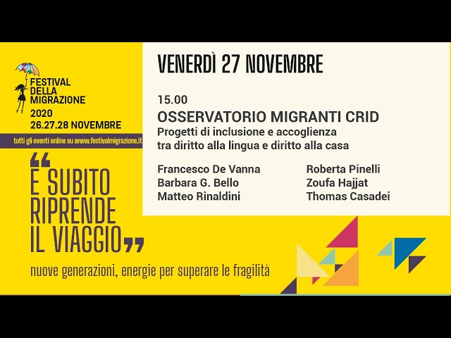 Seconda sessione Festival della Migrazione 2020 // Venerdì 27 novembre
