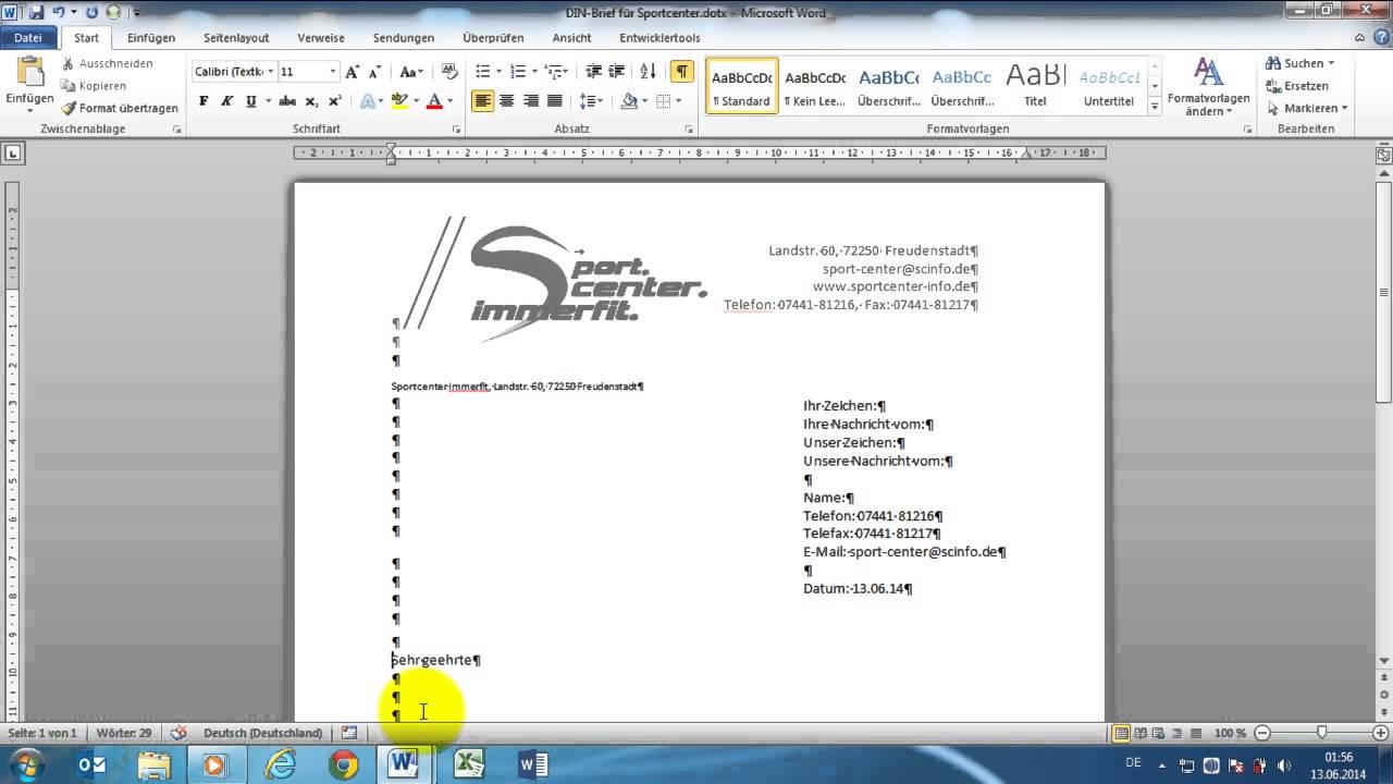 Word 2010 Geschäftlicher Din Brief 5008 Vorlage Erstellen Teil 4