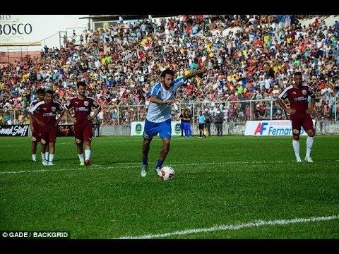 an extraordinary goal  by Neymar during a charity match in Brazil