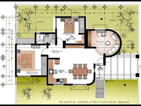 Plano de casa dos plantas y 4 rec maras sala redonda youtube - Casas de dos plantas ...