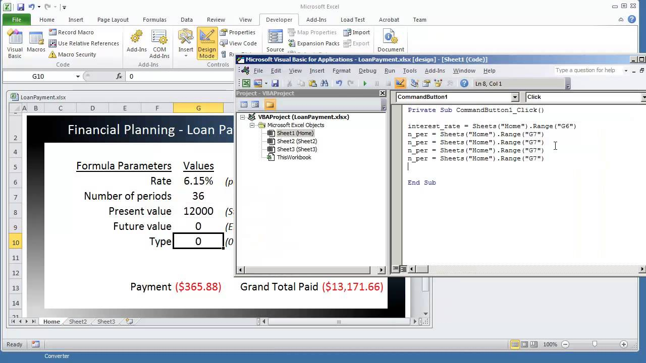 financial planning in excel payment vba pmt function calculator