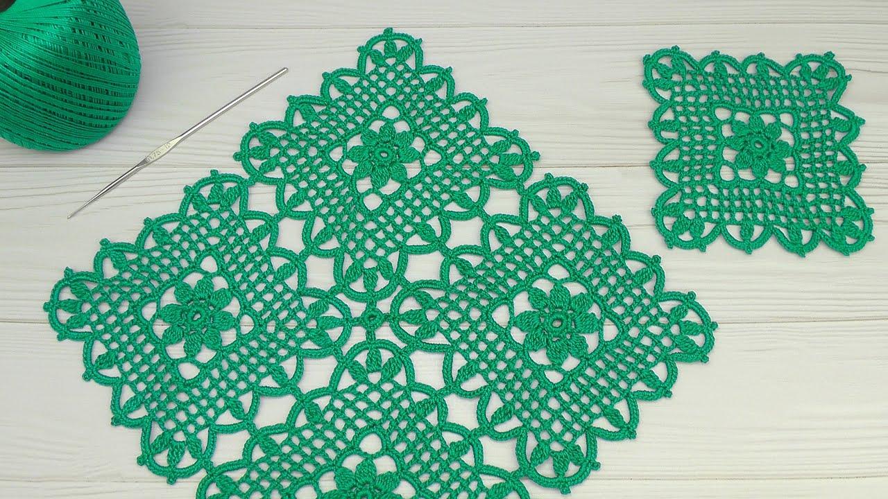 Вязание крючком ПРОСТОЙ КВАДРАТНЫЙ МОТИВ мастер-класс СОЕДИНЕНИЕ МОТИВОВ Crochet lace motif