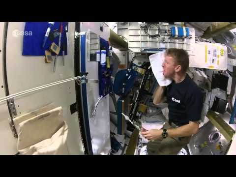 Tim Peake's space shower