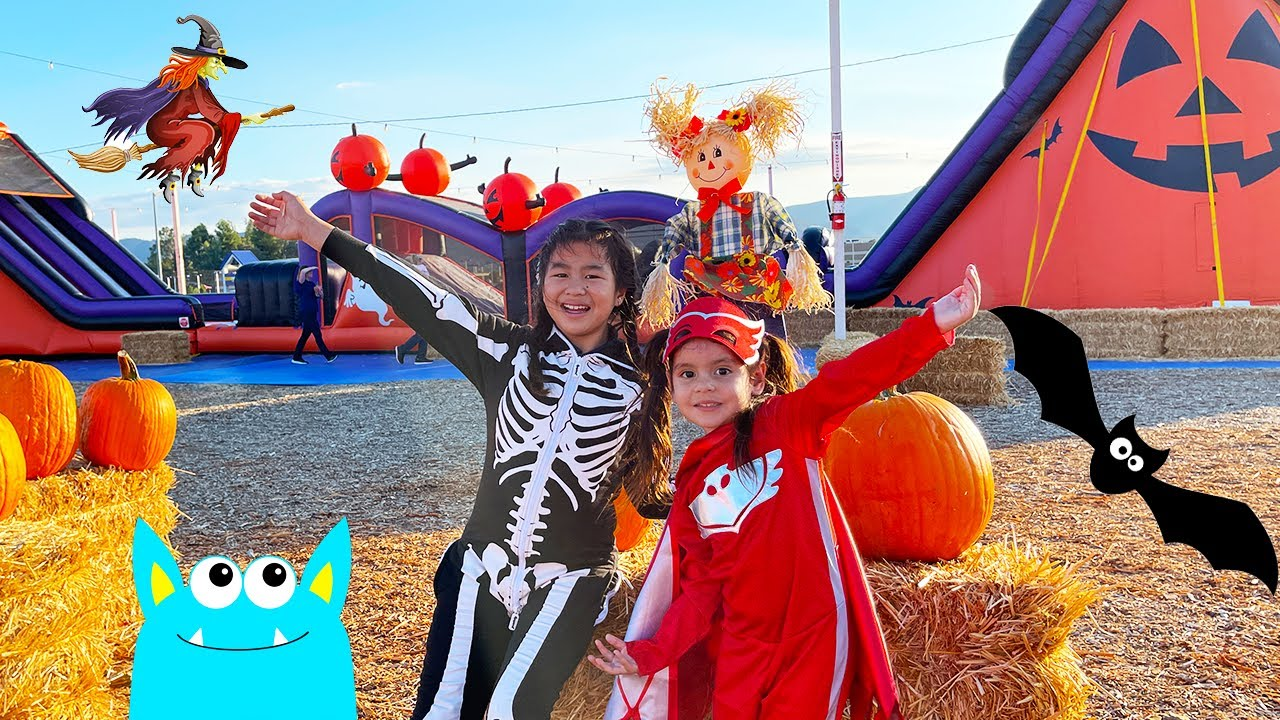 Download Jannie and Ellie Halloween Adventure at the Pumpkin Patch Dressed in Kids Halloween Costumes