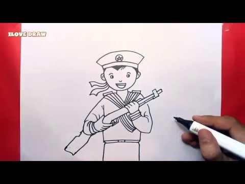 Vẽ chú Hải Quân – Cách vẽ và tô màu chú Hải Quân – Vẽ chú Bộ Đội Hải Quân – Duy Hiếu Vlogs