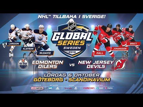 NHL 19 PS4. NHL GLOBAL SERIES SWEDEN 2018: Edmonton OILERS VS New Jersey DEVILS. 10.06.2018. (NBCSN)