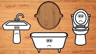 Wrong Wooden Slots with Crying Bathroom Items - Coloring for Kids thumbnail