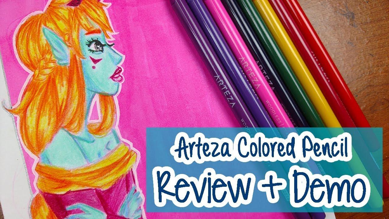 ARTEZA COLORED PENCILS ~ Art Supply Review + Demo - YouTube