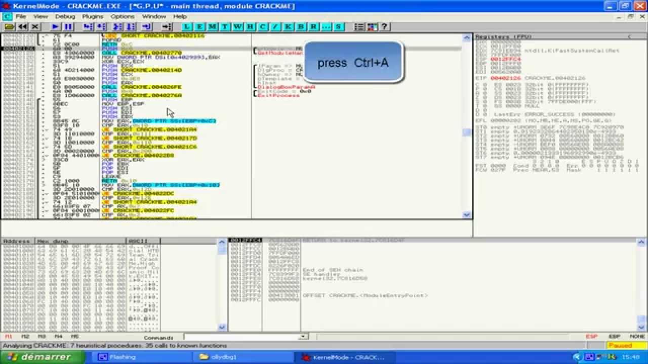 using ollydbg to crack software intermodular calls
