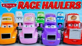 DISNEY PIXAR CARS PISTON CUP RACE HAULERS OCTANE GAIN VINYL TOUPEE TRANSBERRY JUICE MACK DINOCO