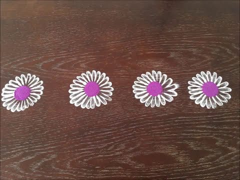 Flower border rangoli simple and nice flower rangoli