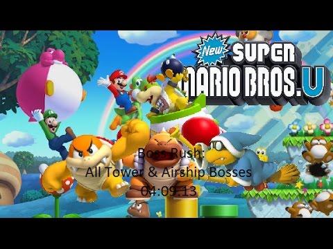 New Super Mario Bros. U - Boss Rush - All Tower and Airship Bosses (04:09.43)