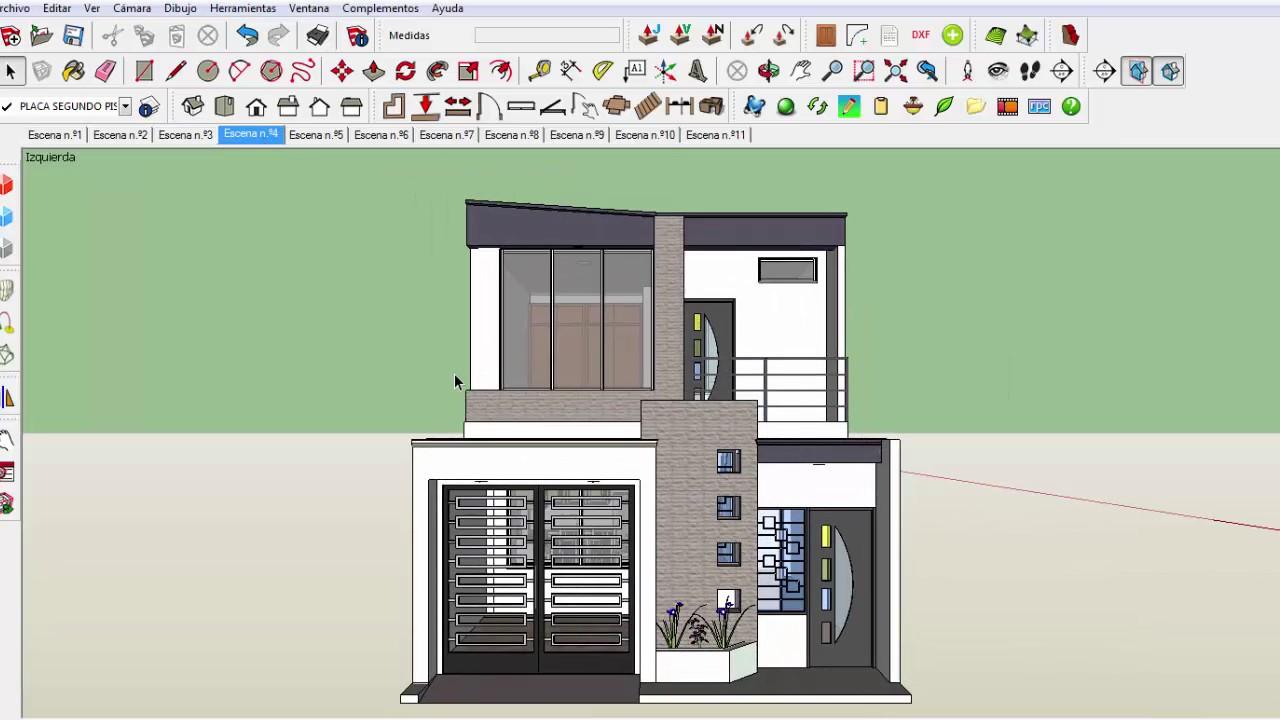 Como generar vistas planta cubiertas fachada perfil for Casa minimalista planos dwg