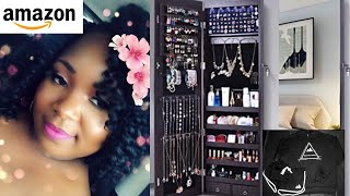 AOOU Jewelry Organizer Jewelry Cabinet,Wall Mounted Jewelry Organizer with Mirror, Full Length Mirror,Large Capacity Dressing Mirror Makeup Jewelry ...
