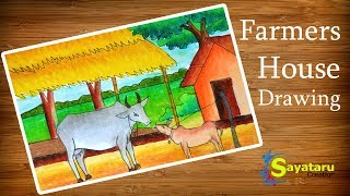 How to draw scenery of Cattle farms, how to draw Farmers House