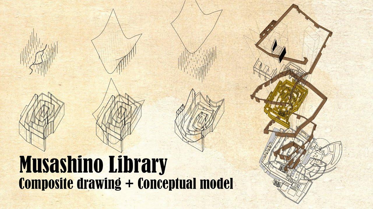 Musashino Library  Sou Fujimoto  Composite Drawing
