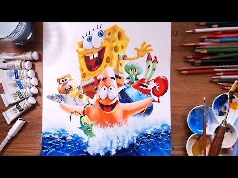 SpongeBob : Sponge Out of Water - Speed drawing | drawholic
