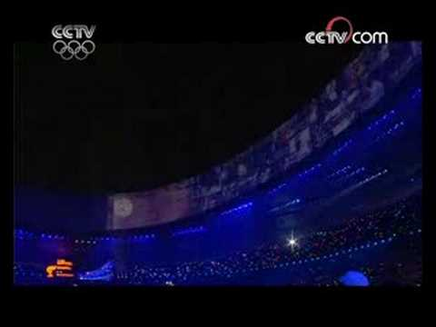 Li Ning lights cauldron of Beijing Olympic Games