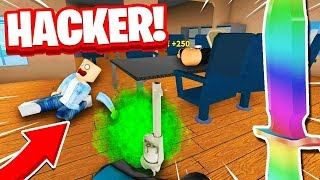 MURDERER VS HACKER IN ROBLOX MURDER MYSTERY 2