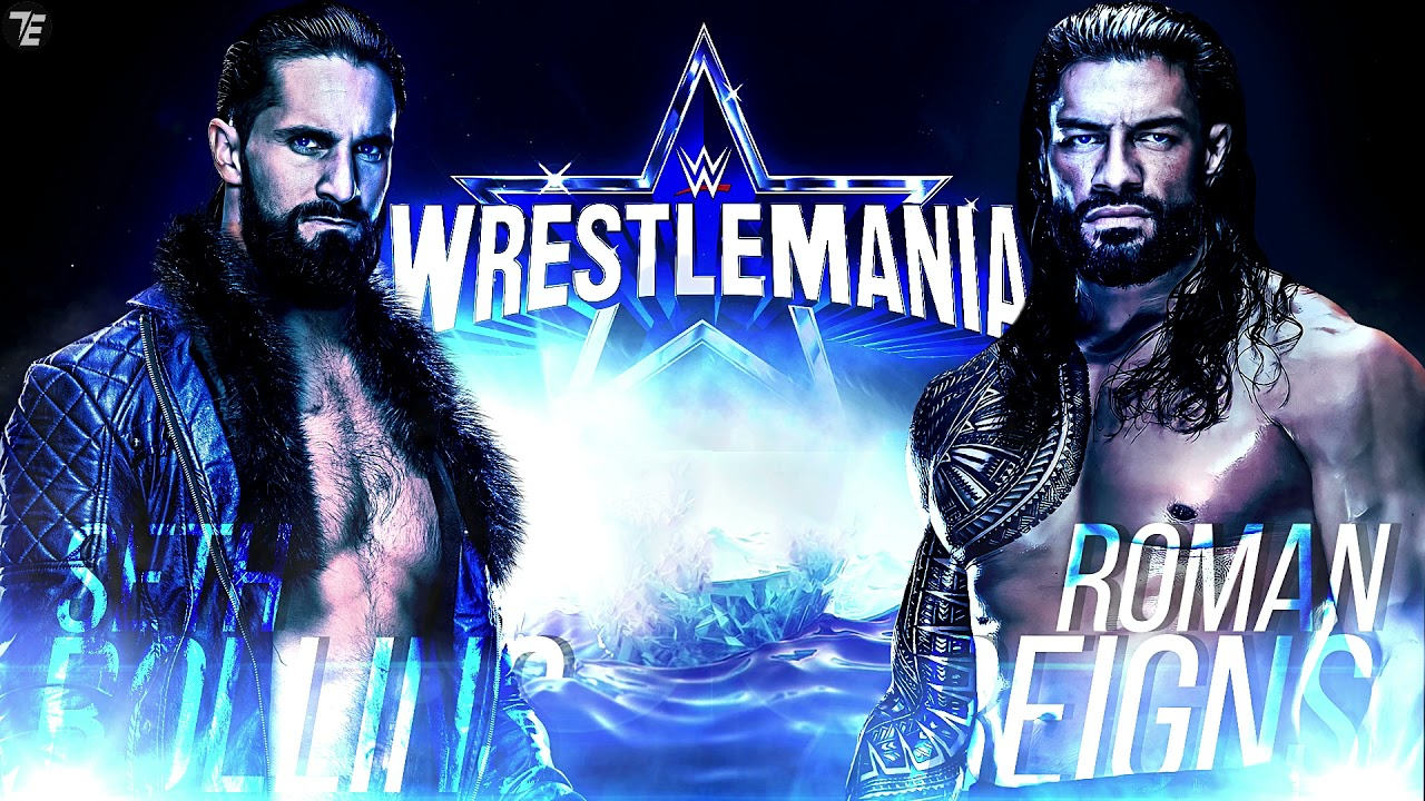 WWE Wrestlemania 38 Seth Rollins vs Roman Reigns Custom Match Card V2