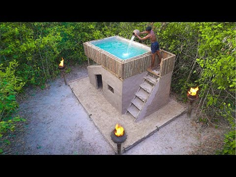 How To Build Amazing Mud Villa House and Swimming Pool in Deep Jungle